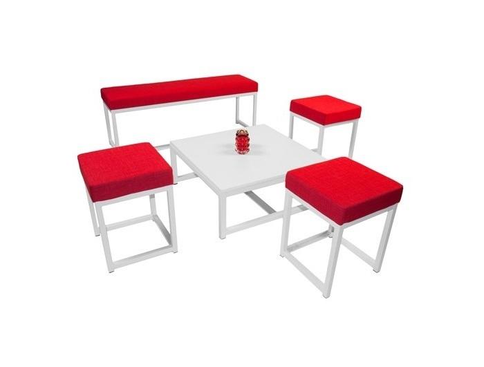 SALON KUBO POUFS + BANC + TABLE BASSE