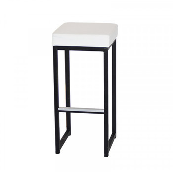 TABOURET KUBO NOIR / ASSISE BLANCHE